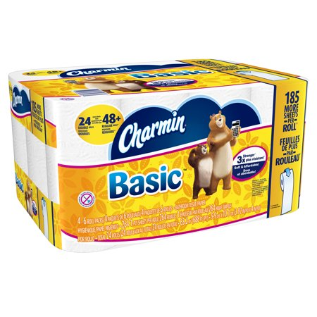 Charmin Basic Toilet Paper Double Rolls, 264 sheets, 24 count ...