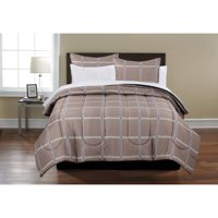 Mainstays Beige Plaid Bed in a Bag Coordinated 7-Piece Bedding Comforter Set