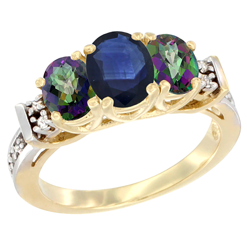 10K Yellow Gold Natural Blue Sapphire & Mystic Topaz Ring 3-Stone Oval Diamond Accent by WorldJewels