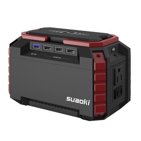 SUAOKI Portable Power Station 150Wh Quiet Gas Free Solar Generator QC3.0 UPS Lithiium Power Supply with Dual 110V AC Outlet, 4 DC Ports, 4 USB Ports, LED Flashlights for Camping Travel CPAP Emergency (Emergency Portable Power Supply)