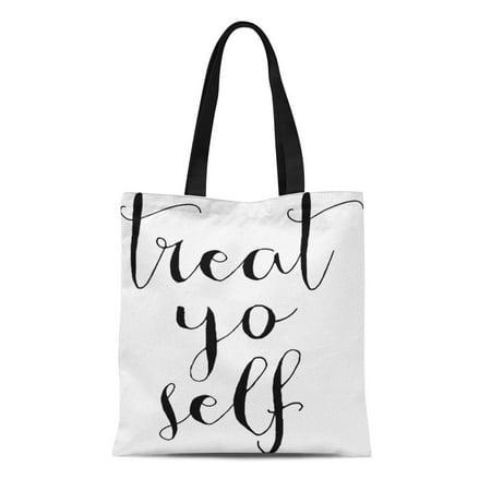 KDAGR Canvas Tote Bag Motivational Treat Yo Self Inspirational Office Wall Reusable Handbag Shoulder Grocery Shopping Bags ()
