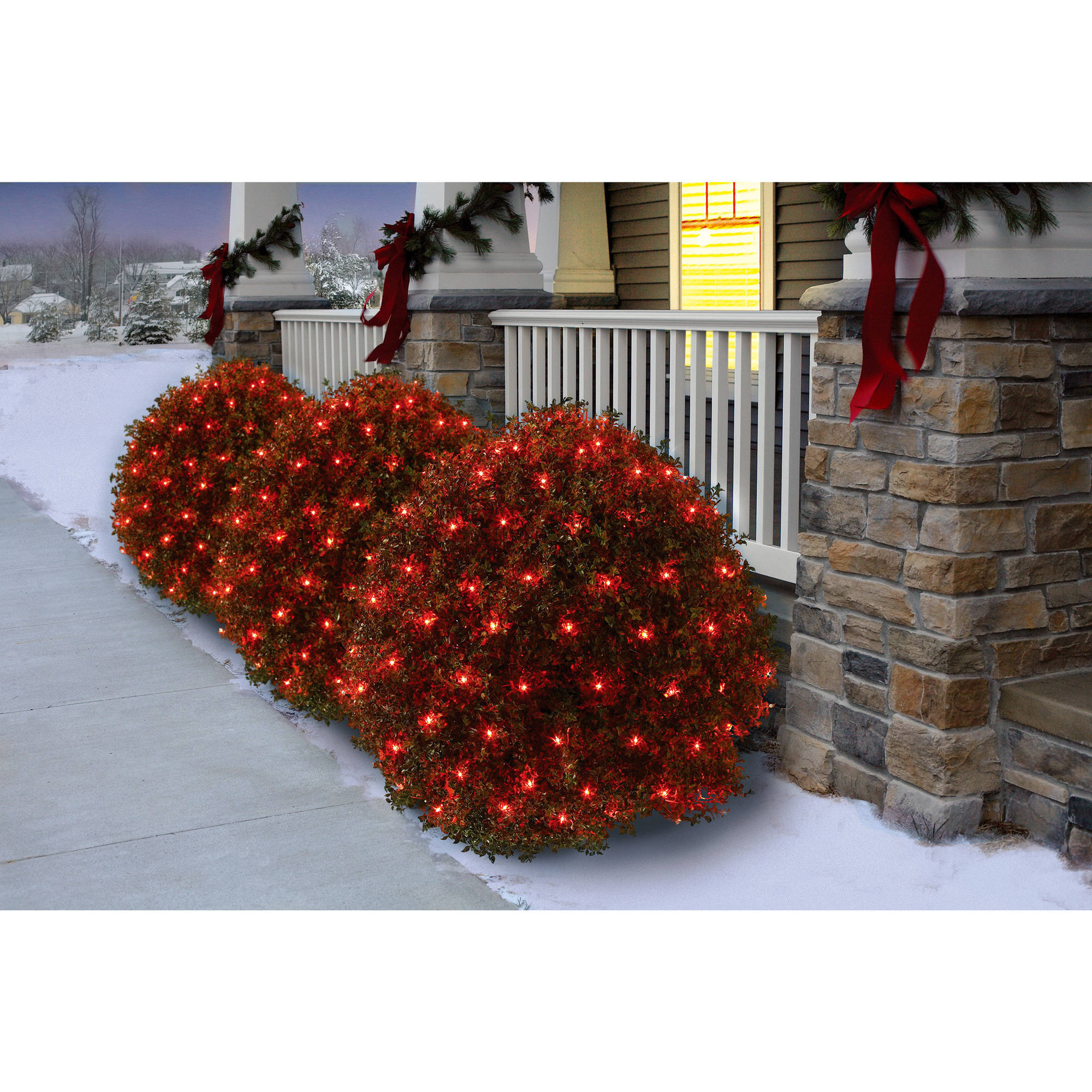 Holiday Time Net Christmas Lights Red, 150 Count