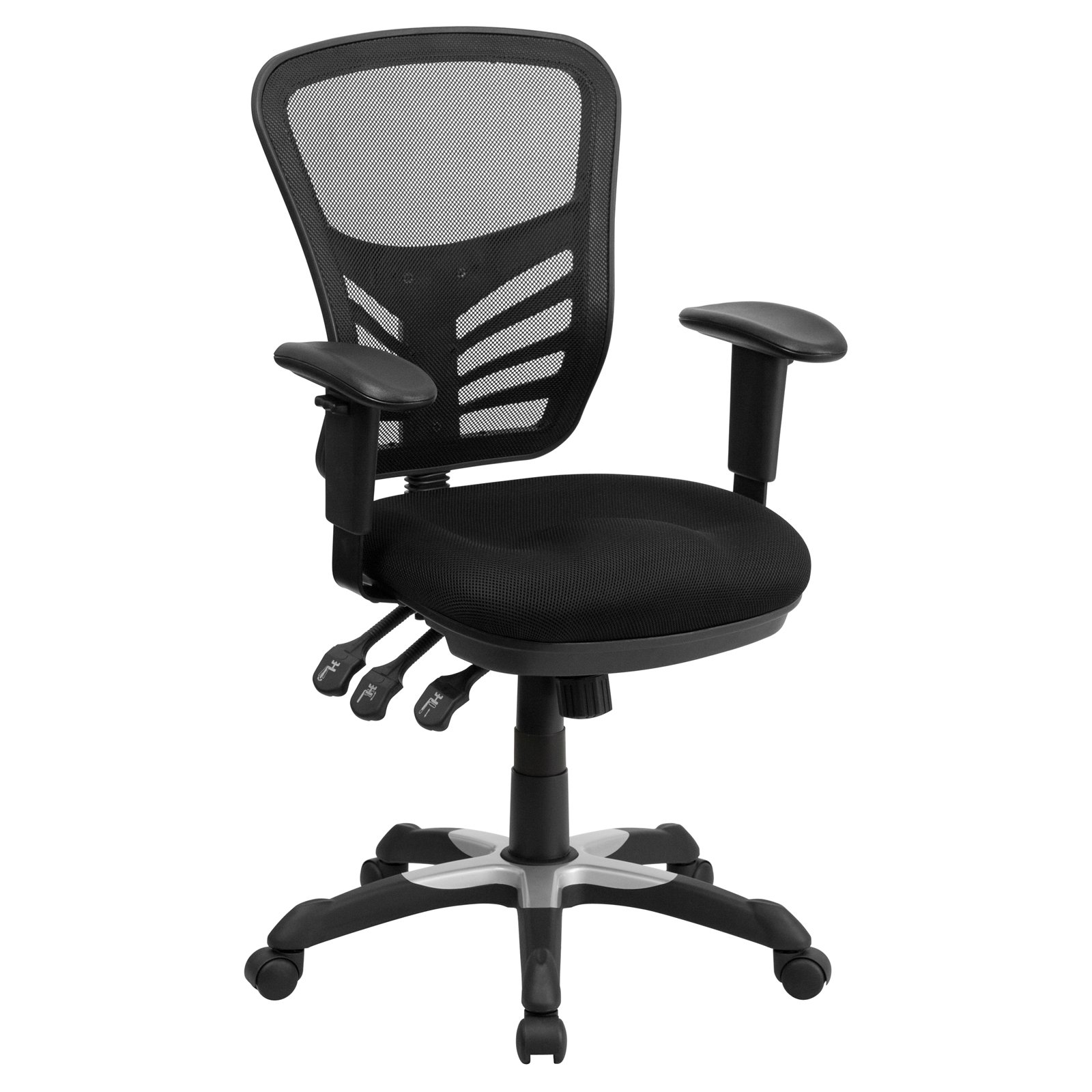 Etonnant Flash Furniture Mid Back Mesh Office Chair With Triple Paddle Control, Black