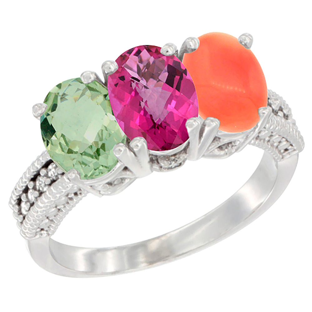 14K White Gold Natural Green Amethyst, Pink Topaz & Coral Ring 3-Stone 7x5 mm Oval Diamond Accent, sizes 5 10 by WorldJewels