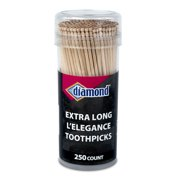 Diamond L'Elegance Extra Long Toothpicks with Resealable Container, 250 Count