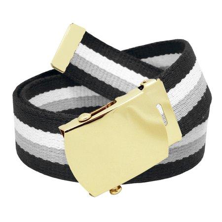 169c094bc53b64 Build A Belt - All Sizes Men's Golf Belt in 1.5 Gold Brass Slider Belt  Buckle with Adjustable Canvas Web Belt X-Large Gray Black White Stripe -  Walmart.com