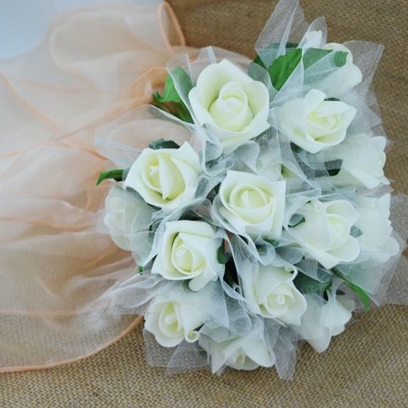 quasimoon beige ivory 8 rose realistic crafting floral wedding bouquet w tulle by. Black Bedroom Furniture Sets. Home Design Ideas
