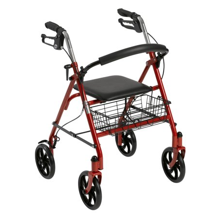 Drive Medical Four Wheel Rollator Rolling Walker with Fold Up Removable Back Support, -