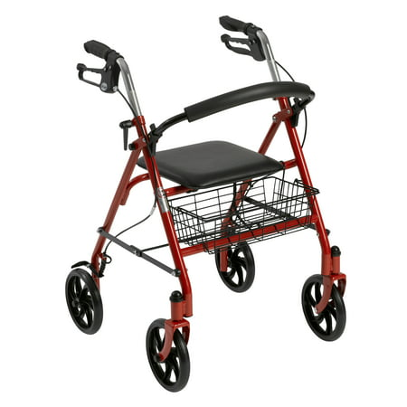 Drive Medical Four Wheel Rollator Rolling Walker with Fold Up Removable Back Support, Red Drive Medical Universal Oxygen Cylinder