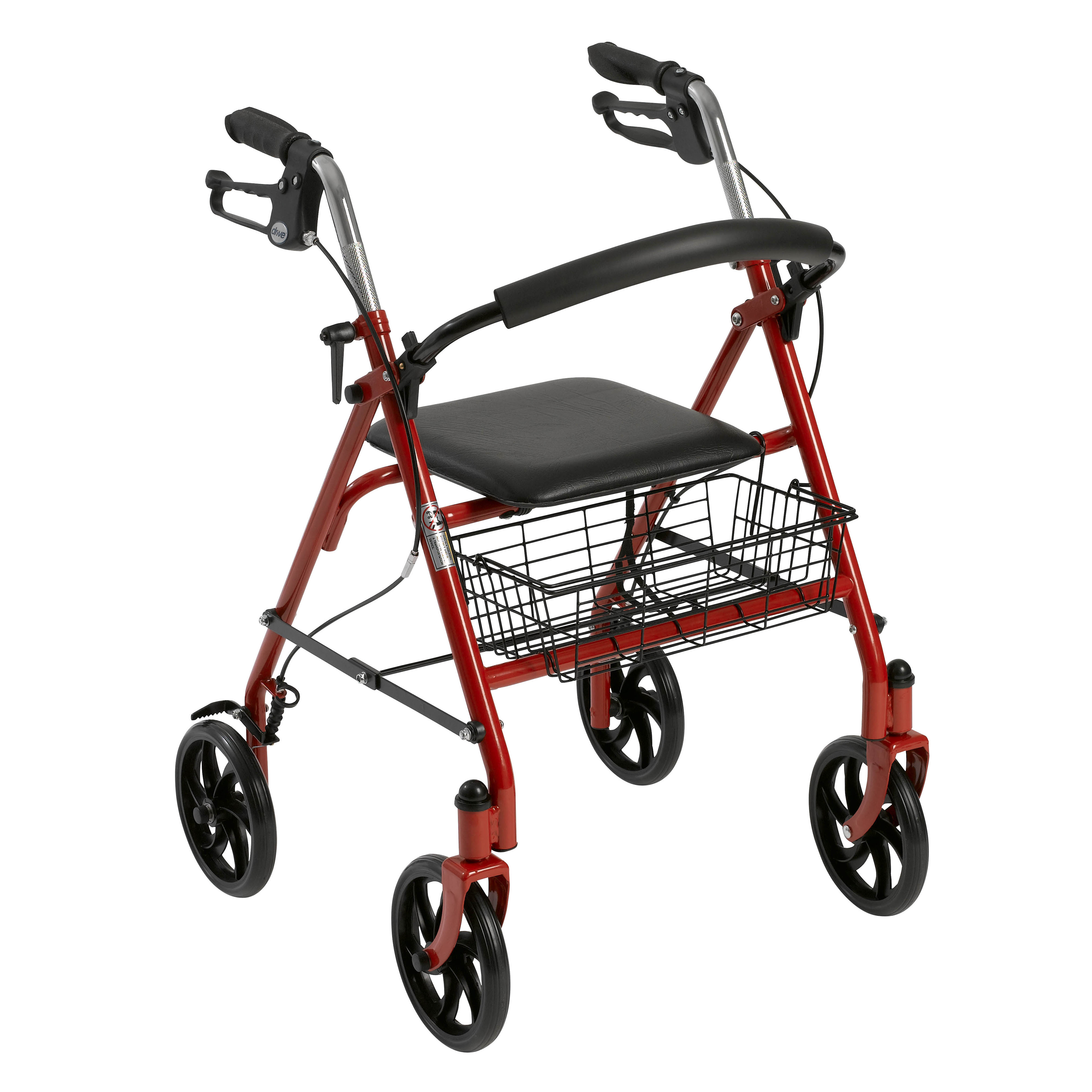 Drive Medical Four Wheel Walker Rollator with Fold Up Removable Back Support, Red