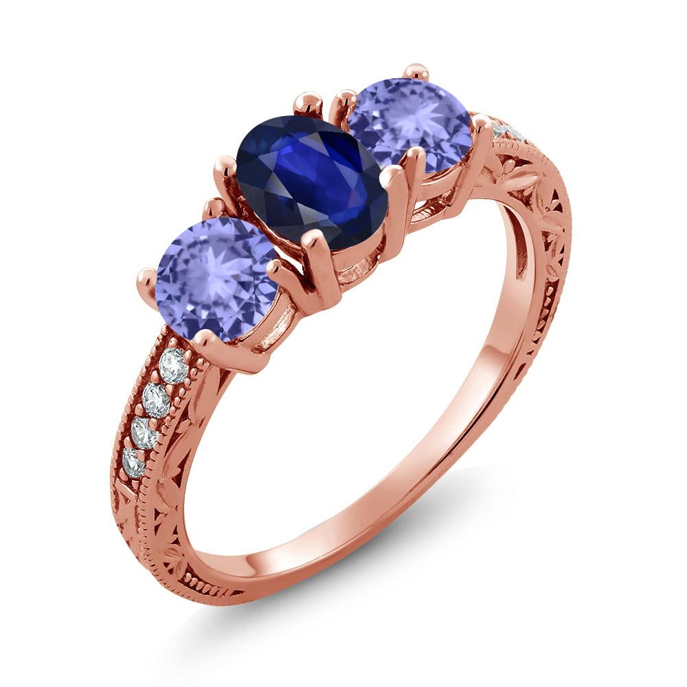 1.61 Ct Oval Blue Sapphire Blue Tanzanite 18K Rose Gold Ring