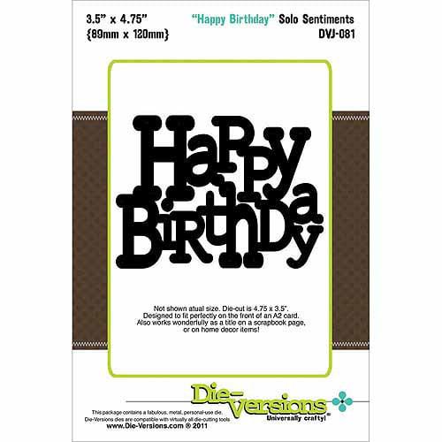 "Die-Versions Solo Sentiments Die-Happy Birthday, 3.5""X4.75"""
