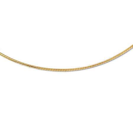 14k Yellow Gold 2mm Round Omega Necklace - Length: 16 to 18 14k Gold Round Omega Chain