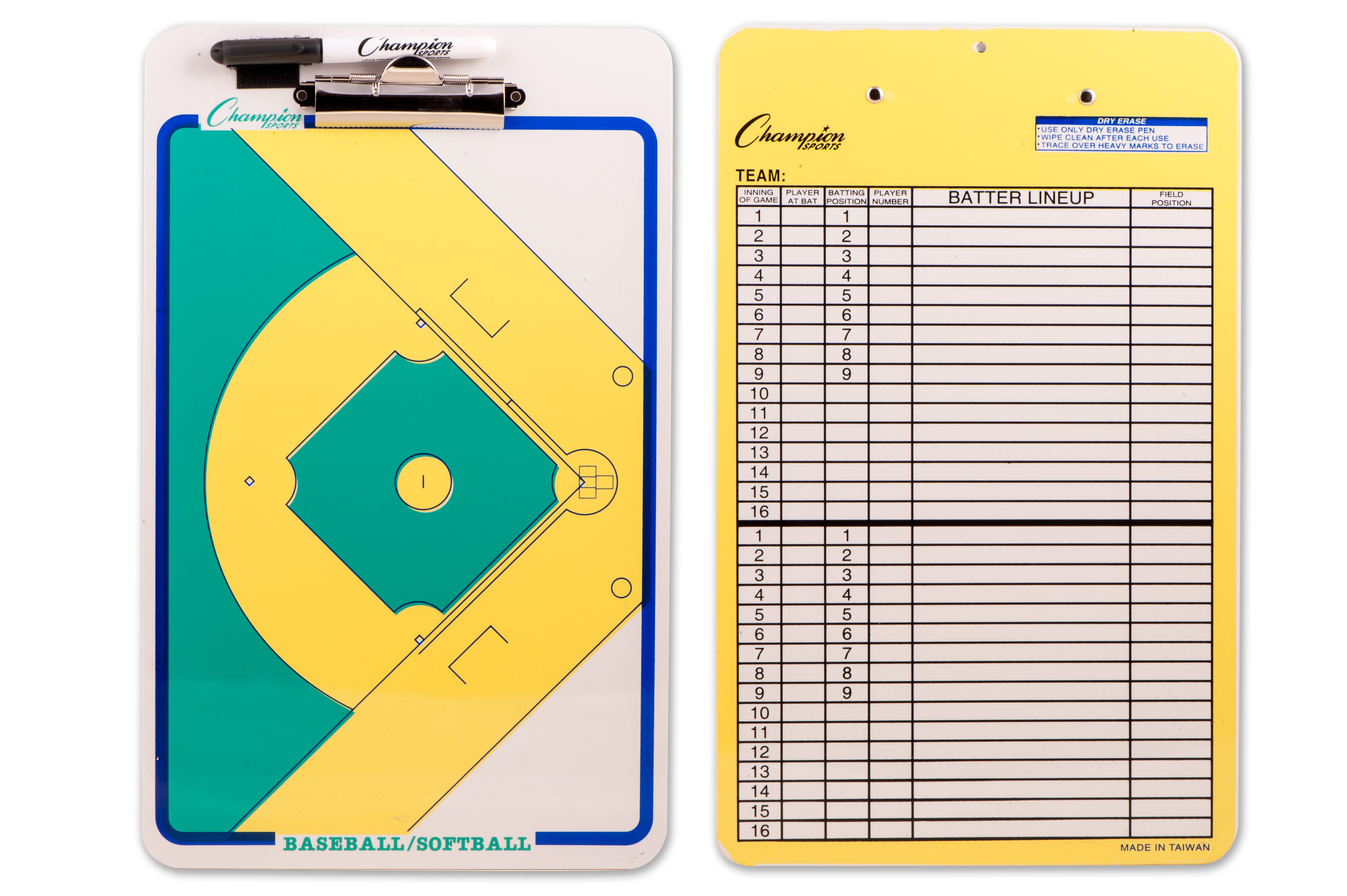 Champion Sports Football Coaches Double Sided Dry Erase Clipboard