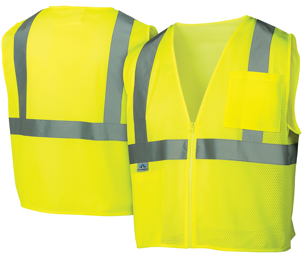 Click here to buy Pyramex Class 2 Self Extinguishing Mesh Lime Safety Vests w  Silver Stripes Size Medium by Pyramex.