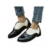Retro Ladies Womens Low Heel Leather Slip On Oxfords Loafers Casual Shoes