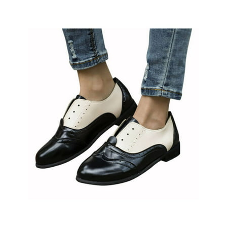 Retro Ladies Womens Low Heel Leather Slip On Oxfords Loafers Casual Shoes - Low Heel Womens Casual Shoes