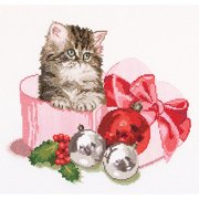 Thea Gouverneur Counted Cross-Stitch Kit, Christmas Kitten