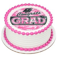 Edible Frosting Photo Graduation Cake Topper - Pink Camo