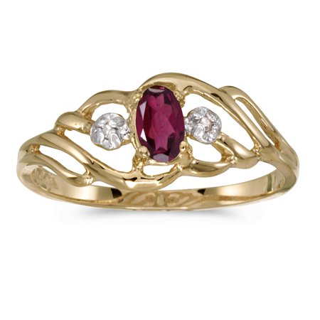 14k Yellow Gold Oval Rhodolite Garnet And Diamond Ring (14k Rhodalite Garnet Ring)