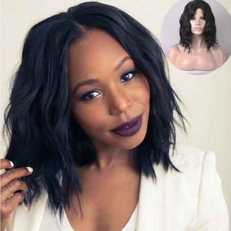 〖Follure〗Short Wavy Bobo Human Hair Full Wig Glueless Front Wigs Black