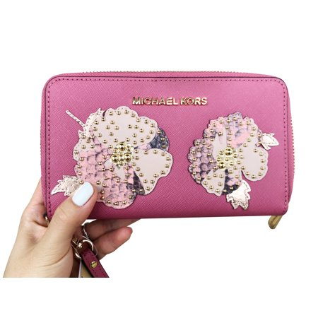 Michael Kors Jet Set Travel Wallet Phone Wristlet Tulip Pink Floral Studded
