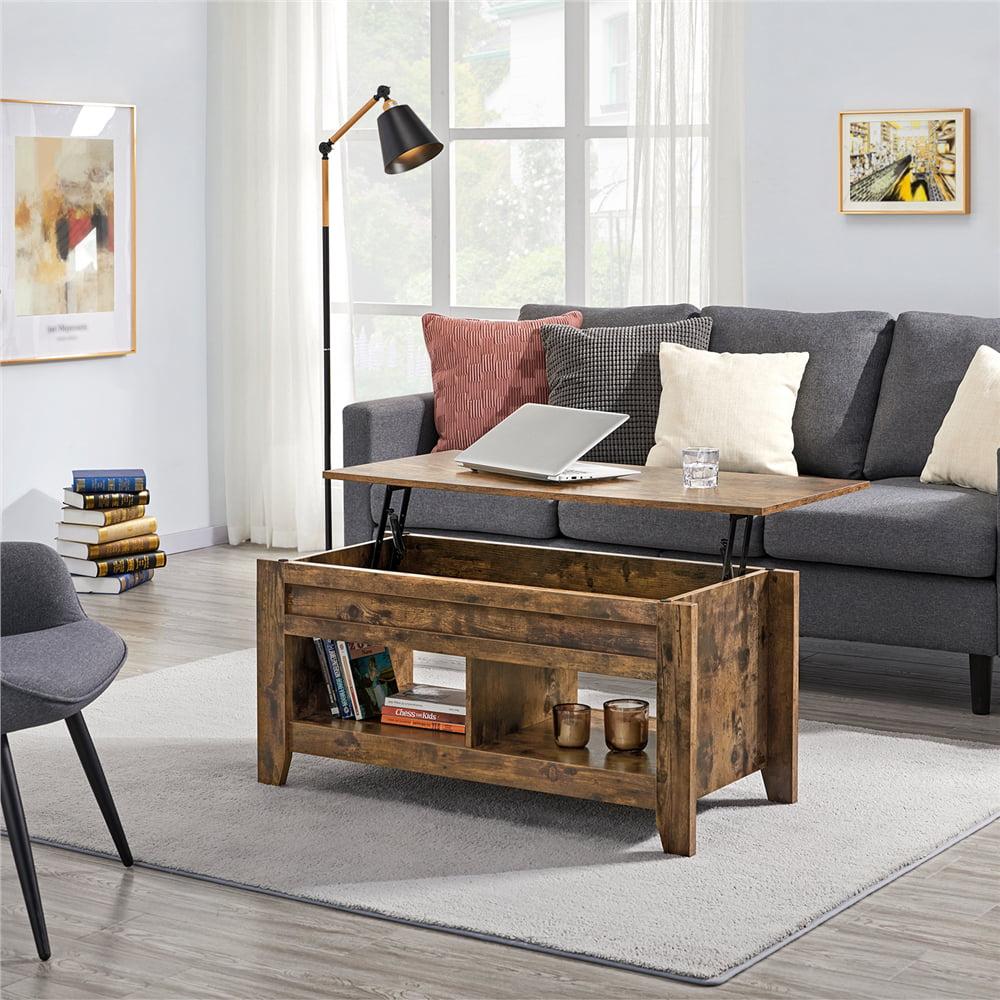 Easyfashion Modern Metal Coffee Table with Shelves, Rustic Brown