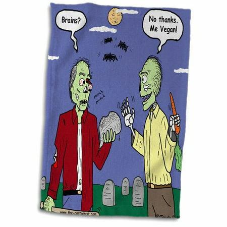 3dRose Halloween - Zombie Vegans Hand Towel - Halloween Rezepte Vegan
