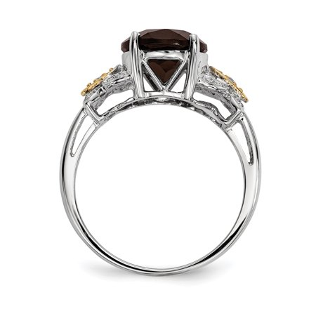 925 Sterling Silver 14k Smoky Quartz Diamond Band Ring Size 8.00 Stone Gemstone Fine Jewelry For Women Gifts For Her - image 7 of 9