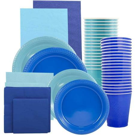 Graduation Plates And Napkins (JAM Paper Party Supply Assortment, Blue & Sea Blue Grad Pack, Plates (2 Sizes), Napkins (2 Sizes), Cups & Tablecloths,)