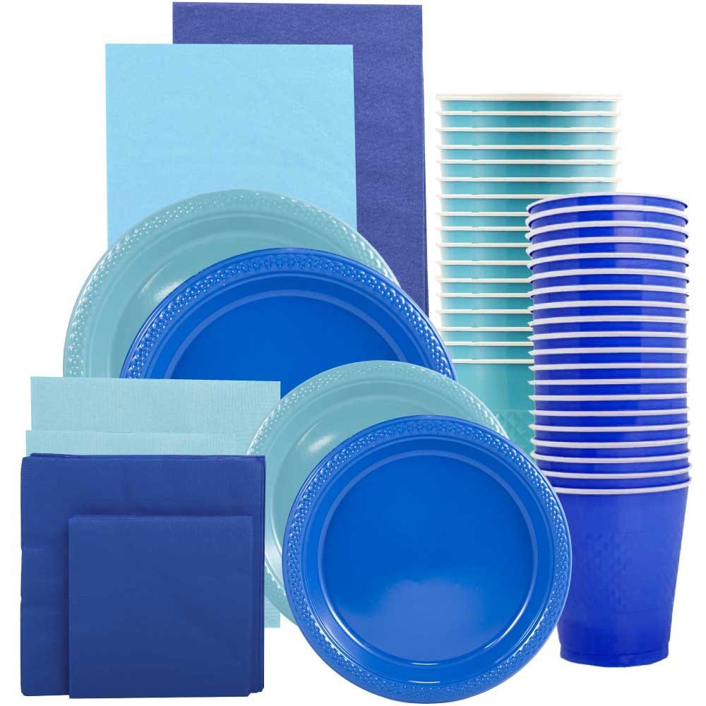 JAM Paper Party Supply Assortment, Blue & Sea Blue Grad Pack, Plates (2 Sizes), Napkins (2 Sizes), Cups & Tablecloths, 12/pack