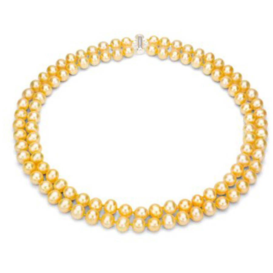"Image of Golden Freshwater Pearl Necklace for Women, Sterling Silver 2 Row 17"" & 18"" 9mm x 10mm"