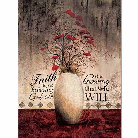 Faith Is Knowing God Will StilL Life Flower Vase Pattern Texture Religious Painting Red & Tan Canvas Art by Pied Piper Creative ()