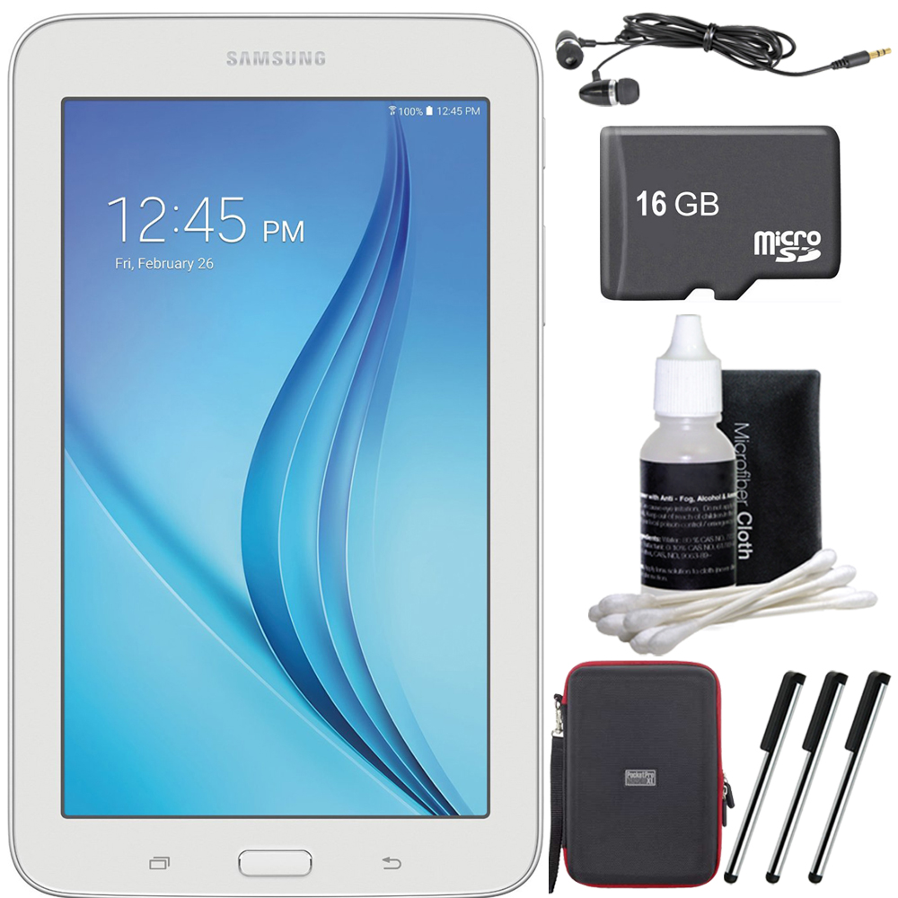 Samsung Galaxy Tab E Lite 7.0' 8GB (Wi-Fi) White 16GB microSD Card Bundle