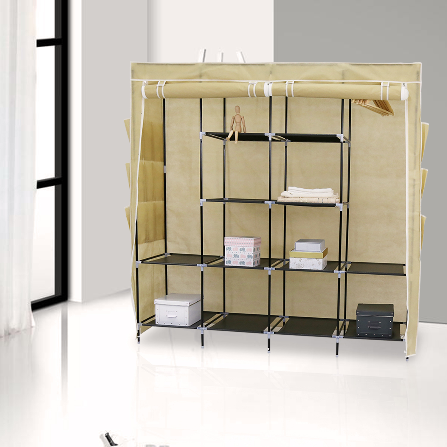 65'' Portable Closet Storage Organizer Wardrobe Clothes Rack with 4 Shelves Beige