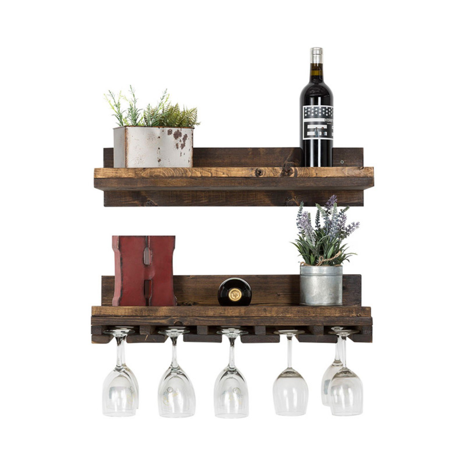 Del Hutson Designs Rustic Luxe Wood Floating Shelf - Set of 2