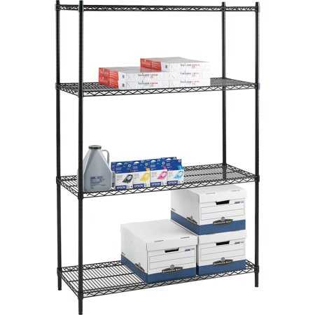 Lorell, LLR69145, Industrial Adjustable Wire Shelving Starter Unit, 1 Each, Black