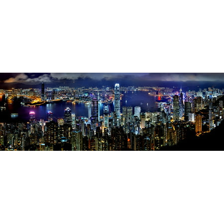 LAMINATED POSTER Architecture Asia Hong Kong Skyline Night Poster Print 24 x 36