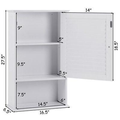 Gymax 27.5'' H Wall Cabinet Hanging Bathroom Storage ...
