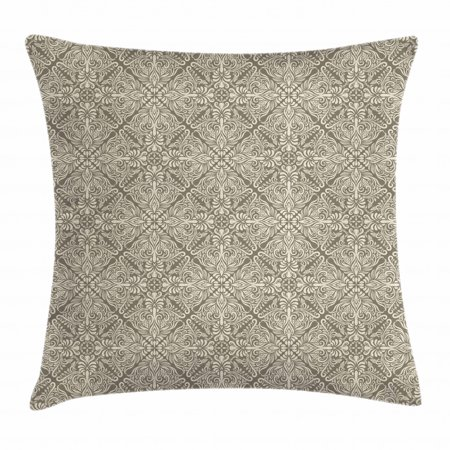 Vintage Throw Pillow Cushion Cover, Hand Drawn Style Arabesque Floral Ornament Byzantine Damask Style Curly Leaves, Decorative Square Accent Pillow Case, 24 X 24 Inches, Taupe and Beige, by Ambesonne Taupe Square Pillow