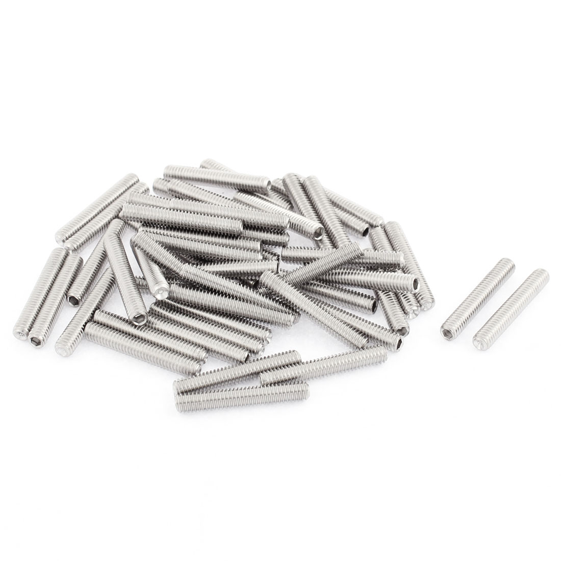 Uxcell M4x25mm Stainless Steel Hex Socket Set Cap Point Grub Screws Silver Tone (50-pack)