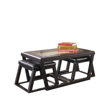 Bowery Hill Coffee Table with 2 Stools in Espresso ()