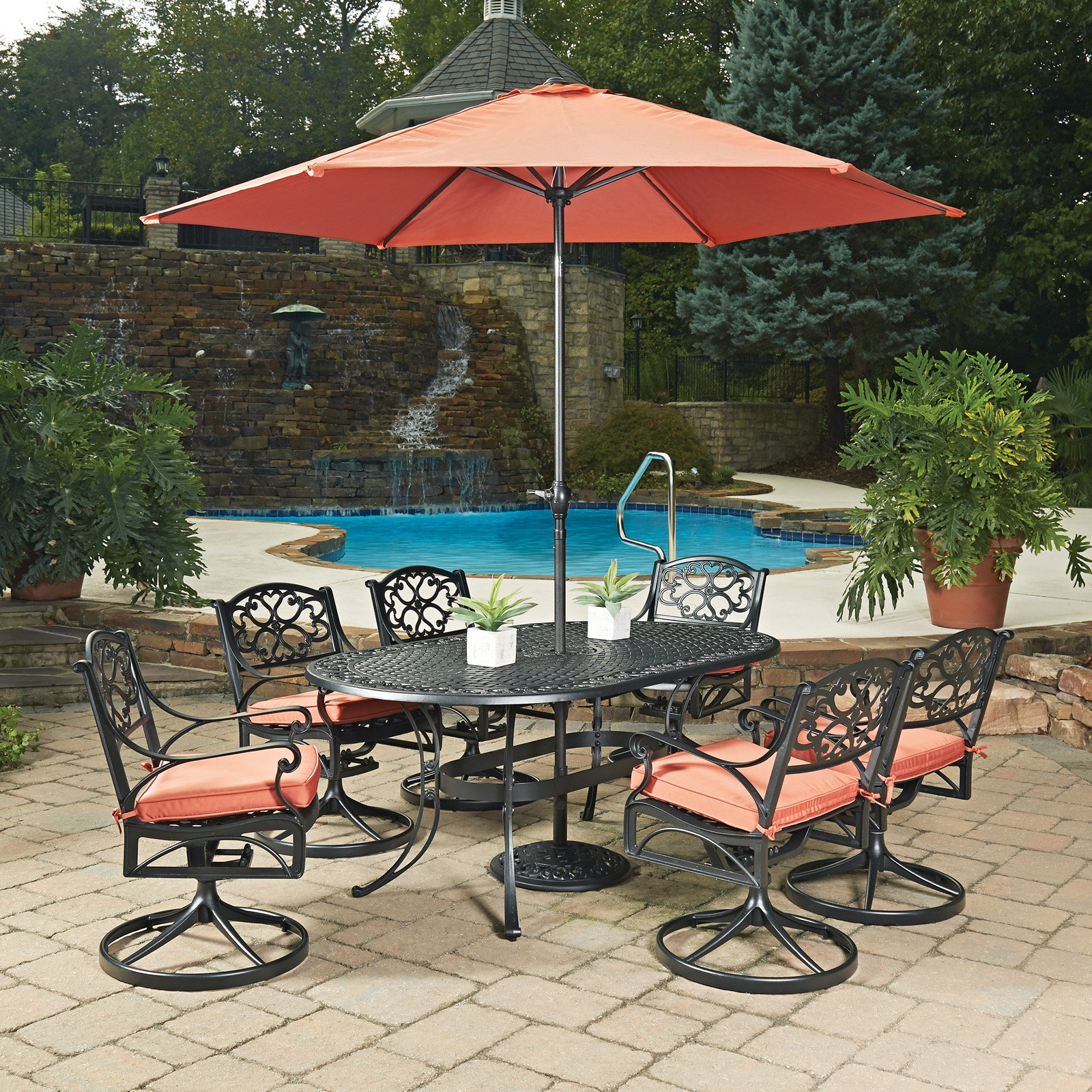 Biscayne Black Oval 9 Pc Outdoor Dining Table, 4 Arm Chairs, 2 Swivel Rocking Chairs with Cushions & Umbrella with Base