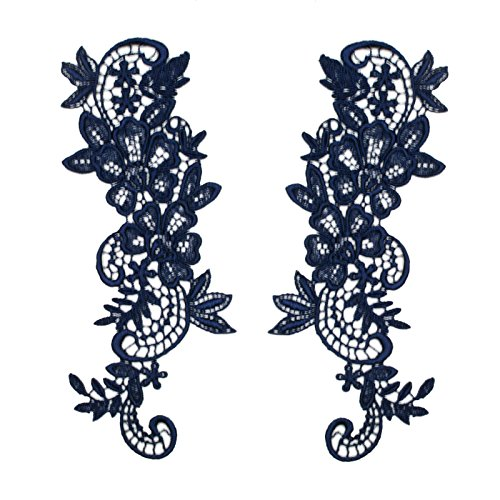 "Navy 2.75""x8"" Pair of Floral Venice Lace Applique Embroidered Bridal Guipure Patch Motif (2 Pieces)"