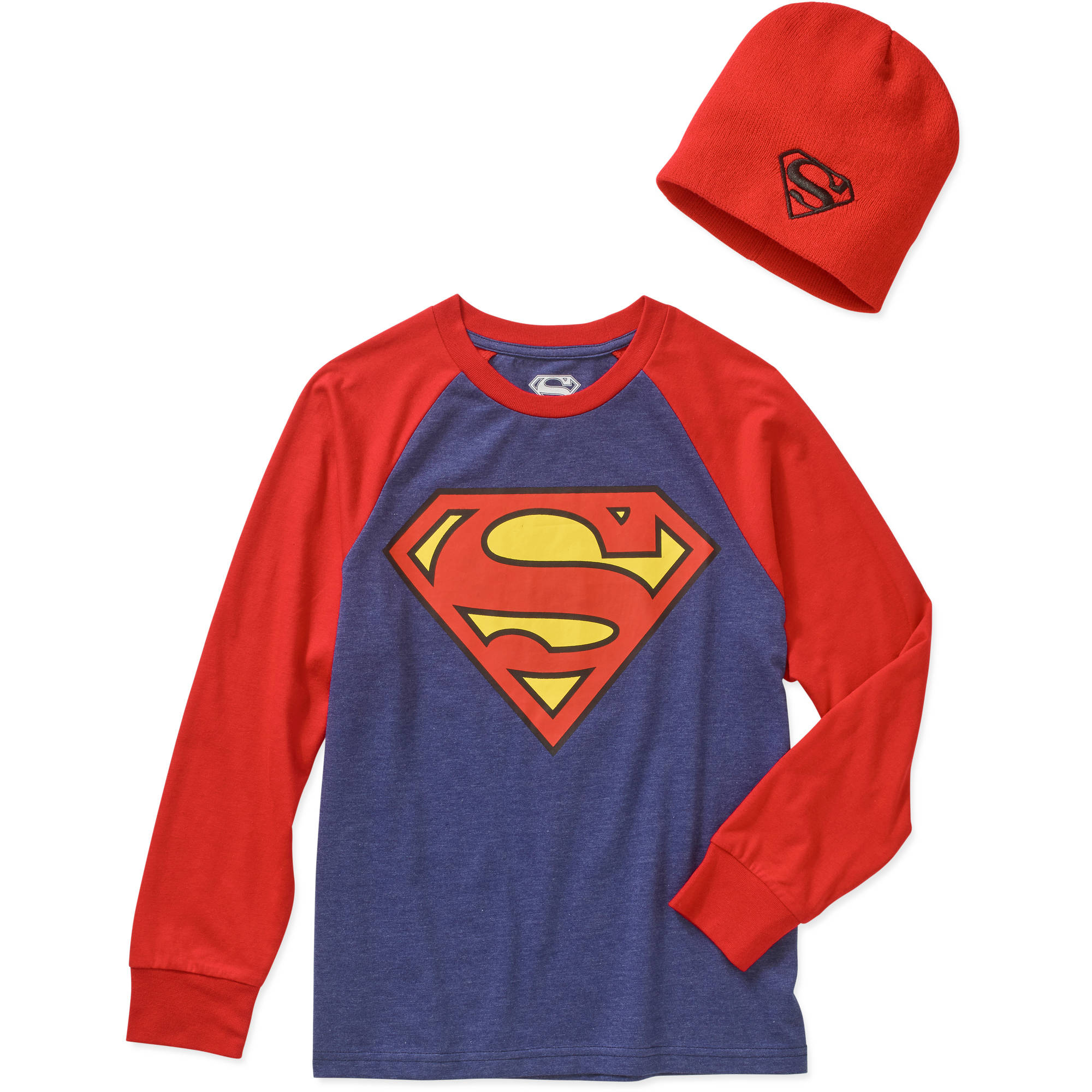DC Comics Superman Boys' Graphic Tee with Beanie Combo