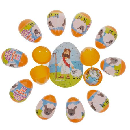 Set of 12 Plastic Religious Puzzle Filled Eggs