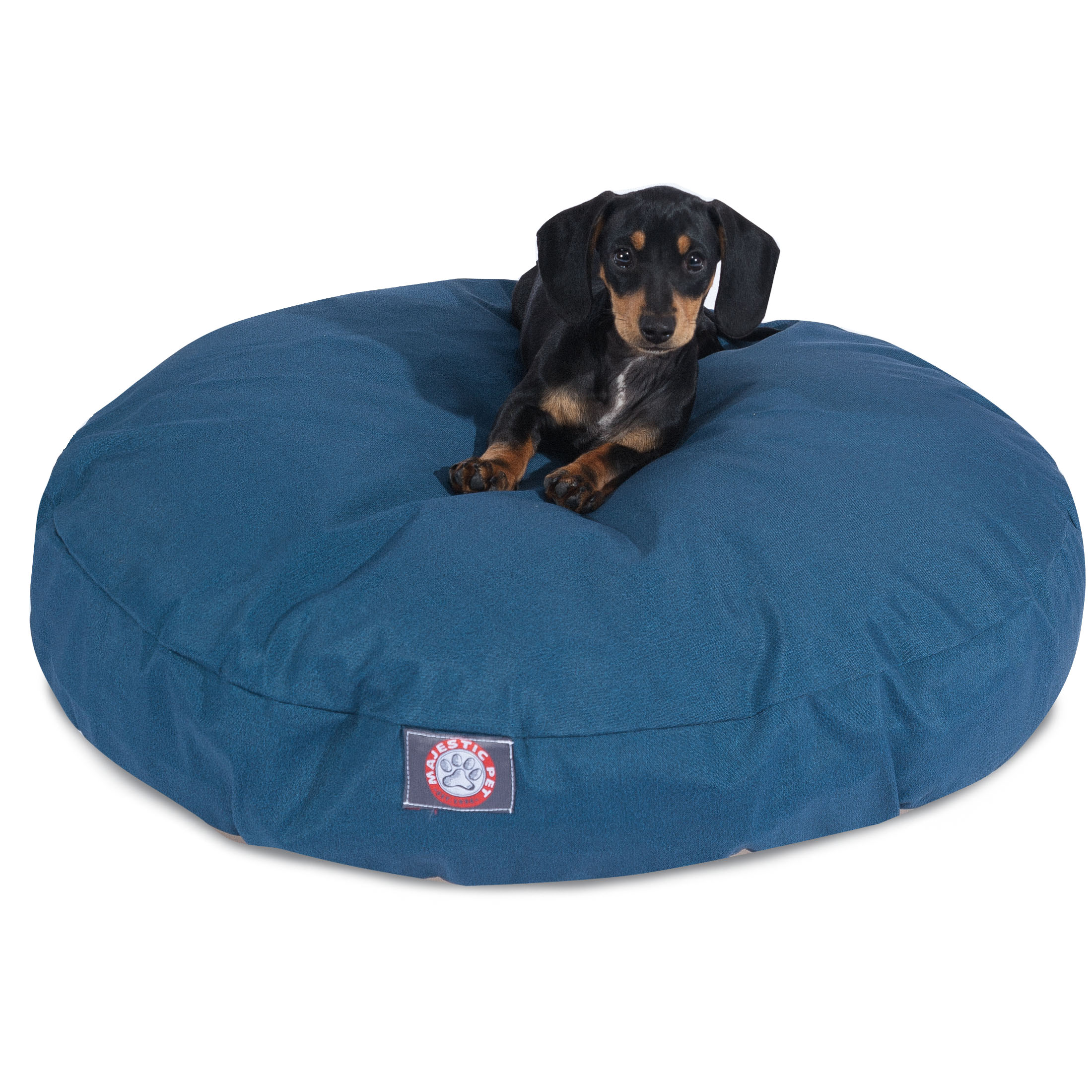 Majestic Pet Solid Round Dog Bed Treated Polyester Removable Cover Machine Washable