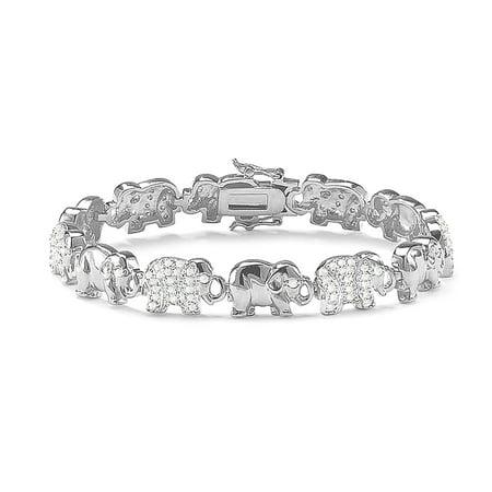 Eye Link Diamond Bracelet - Diamond Accent Elephant Link Bracelet