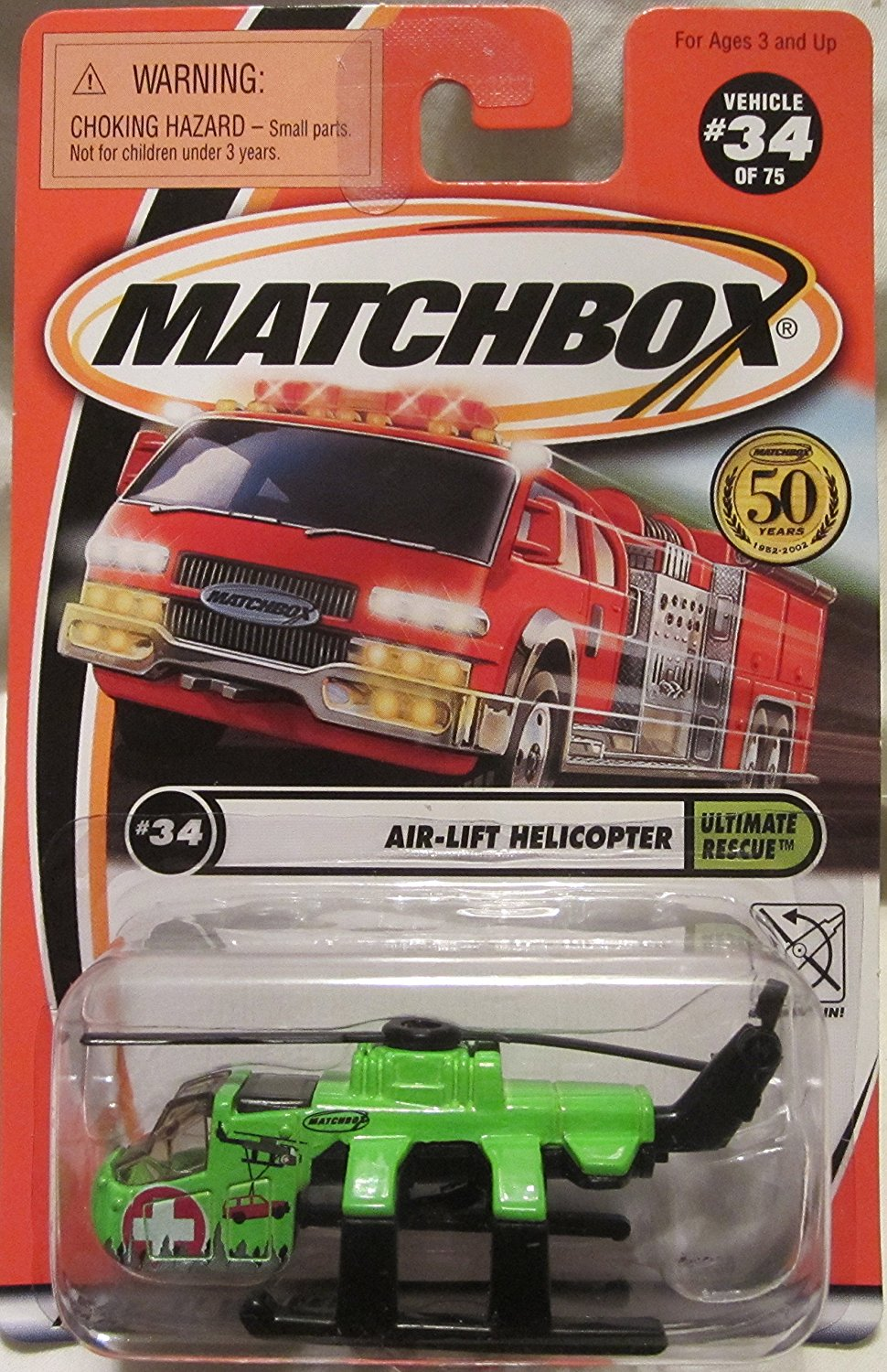 2001 Ultimate Rescue #34 of 75 Air-Lift Helicopter Green, 1:64 Scale By Matchbox by
