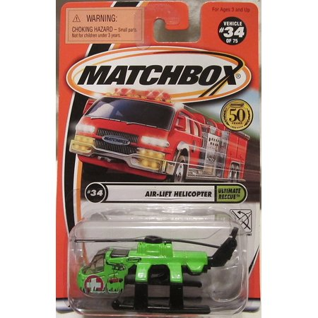2001 Ultimate Rescue #34 of 75 Air-Lift Helicopter - Green, 1:64 Scale By Matchbox